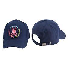 Psycho Bunny Men's Cotton Embroidered Strapback Ovington Navy Baseball Cap Hat
