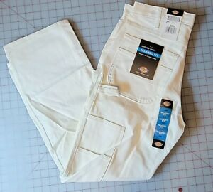NWT Dickies Men's Painters Relaxed Fit White Canvas Work Utility Pant 32 x 30