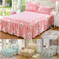 4Pcs Pink Floral Bed Skirts Quilt Duvet Cover Pillowcase Bedding Set Queen Bed