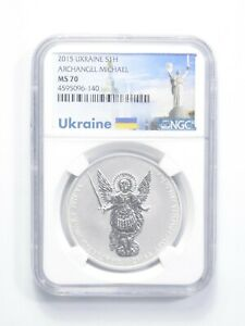 MS70 2015 Ukraine 1 Hryvnia 31.1 Grams Silver Archangel Michael Graded NGC *919