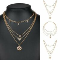 Fashion Multilayer Necklace Choker Jewelry Crystal Pendant Chain Women Star Gold