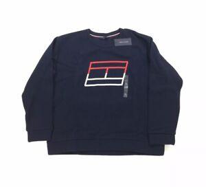 NEW Tommy Hilfiger TH Logo Dark Blue Cropped Sweatshirt Pullover Womens Sz XL