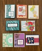 8 handmade Thank You cards with envelopes. Stampin Up and more.