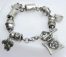 Unique Silver 925 Plated T Bar w Heart Clover & Flower Dangle Charm Bracelet