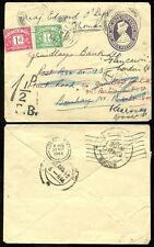 POSTAGE DUE INDIA STATIONERY 1948 GRINDLAYS REDIRECTED to GB + CHARGED LONDON