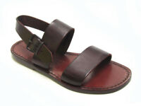 Brown leather women's franciscan slides sandals handmade in Italy