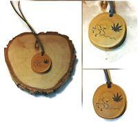 Cannabis CBD Wooden Necklace Charm Eco Friendly Handmade Engraved Pendant #CBD