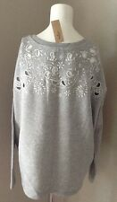 AMERICAN EAGLE LIGHT GREY DETAILED PULL OVER SWEATSHIRT SIZE XS NEW WITH TAGS