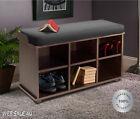 Upholstered Entry Bench Wood Cubby Storage Hallway Shoe Organizer Cushion Seat