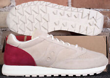 New Saucony Jazz Original Leather Cream Red Lowtop Running Shoes - Men's Size 12