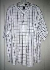 Basic Editions WHITE PLAID Cotton-blend Short-Sleeve SPORT SHIRT ~ Size 3X