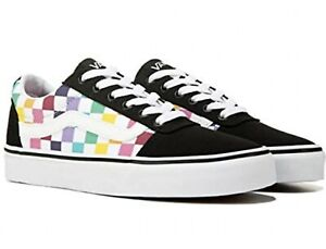 Vans Ward Low Top Skate Shoe Sneaker Rainbow Checkered Lace Up Size 11