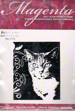 New MAGENTA RUBBER STAMP Romeo kitty cat portrait cling free usa ship
