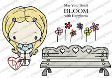 SITTING LOVELY-The Greeting Farm Cling Rubber Stamp Craft-Anya-Bench-RETIRED