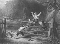 KIDS PLAYING SWING on FARM GATE in Forest ~ Antique Old 1850 Art Print Engraving