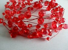 5 METRE RED ACRYLIC CRYSTAL GARLAND ON A RED WIRE/WEDDING/VASES/CHRISTMAS