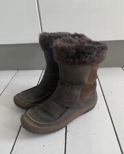 MERRELL Mocha Furry Trim Waterproof Leather Boots Size UK 6 EU 39