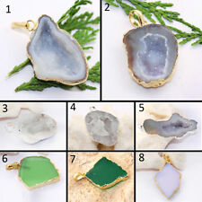 Natural Geode Druzy Onyx Chalcedony Opalite Silver Gold Plated Handmade Pendant