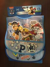 Nickelodeon Paw Patrol Blue Trim Plastic Frosted 2 Pack Crumb Catcher Bibs