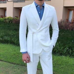 Men British style Suit 2pcs Blazer Jacket Pants Wedding Business Formal Tuxedo L