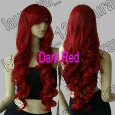 32 in. Long Heat Resistant Big Spiral Curl Dark Red Cosplay Wig Free Shipping 80