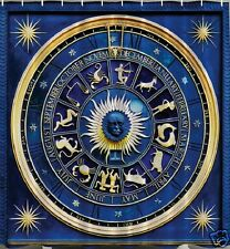 Astrology Wheel Fabric SHOWER CURTAIN Zodiac Calendar Horoscope Sun Moon Bath
