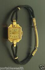 Zodiac Vintage Ladies Wrist Watch 14K Yellow Gold Black Rope Band