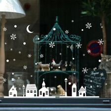 Chic Christmas Shop Window Decoration Wall Stickers Christmas Snowflakes Town