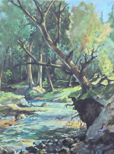 Vintage Creek through woods 4 by Wm Brigl 1950s print