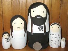 Russian nesting Dolls Matryoshka FAMILY Babushka Dad Mum Baby Black White MATT 5