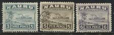 Nauru 1937-48 3d, 5d, & 6d used on glazed paper