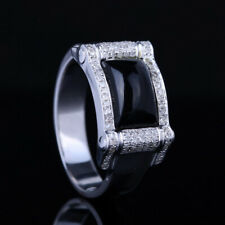 Gentleman 14K White Gold Gemstone Pave 2.3ct Genuine Agate Diamond Wedding Ring