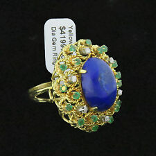 NYJEWEL Brand New 18k Gold Italy Large Lapis Emerald Diamond Cocktail Ring