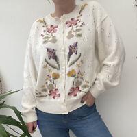 Vintage 80s 90s Cream Cardigan Floral Pattern Cottagecore Boho Hippy Sz 14 16