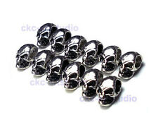 Unusual Mini Skull Head Alloy Spacer Beads For Bracelet - Antique Silver