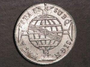 BRAZIL 1812B 960 Reis Silver Crown XF-AU