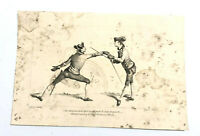 1763 Copperplate Engraving Men Fencing by James Gwyn Grignion 10 x 6.5