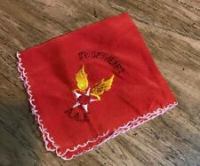 "Vintage Wwii Embroidered ""Sweetheart, Aaf� Eagle Red Folded Handkerchief"