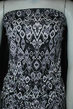 Rayon Stretch Jersey Knit Fabric  Beautiful  ikat tribal print Black Multi combo