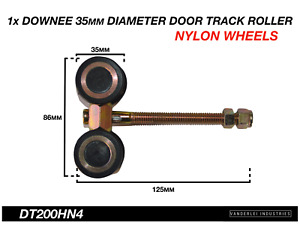 Downee Shed Door Track Roller 4 Wheel Nylon Carriage 35mm Diameter Wheels