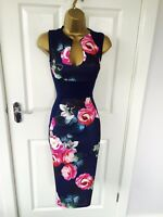 Navy Pink Floral Illusion Bodycon Evening Stretch Party Midi Wiggle Pencil Dress