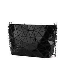 Geometric Women Chain Bag PVC Crossbody Shoulder Bag Black Handbag
