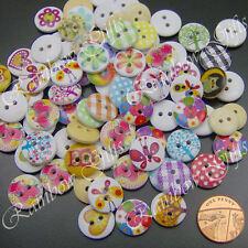 80 Botones De Coser Mezclados 15mm botones madera scrapbooking Tarjeta Artesanía