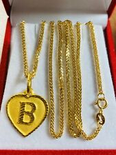"21K Fine Saudi Gold Set Women's Heart B Necklace With 16"" Long 1.6mm US Seller"