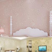 10m Pastoral Flowers 3D Flocking Non-woven Textured Wallpaper Rolls Wall Paper