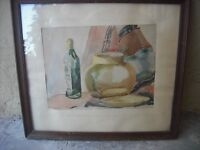 Vintage New York still life watercolor painting