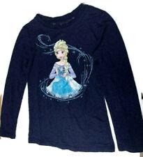 Disney Frozen Elsa Shirt navy blue longsleeve toddler girls size s(6/6x)