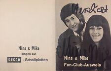 Autogramm Nina & Mike (Michaela + Lothar Schäfer) auf Blanco Clubausweis beide +