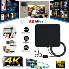 80 Mile Mini HDTV Indoor Antenna Digital TV Signal Aerial Amplifier Booster Thin