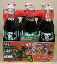 1998 NFL COCA-COLA BOTTLES Full 6 PACK, COMMEMORATIVE CARRIER ~ NFC, AFC HELMETS